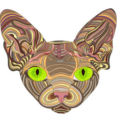 The stylized head of a sphynx cat is an ethnic vector