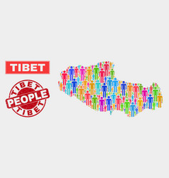 Tibet map population demographics and corroded vector
