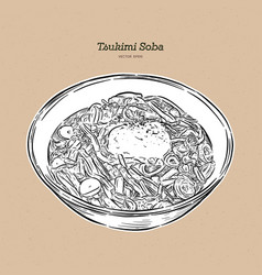Tsukimi soba is one japanese noodles with a vector