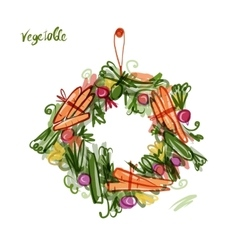 Vegetable frame sketch for your design vector image