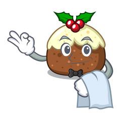 waiter fruit cake mascot cartoon vector image