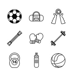 White background with monochrome set sports vector