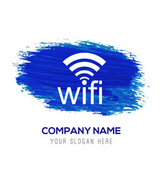 wifi icon - blue watercolor background vector image