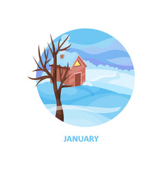 winter landscape with small house tree and snow vector image