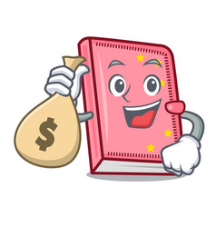 with money bag diary character cartoon style vector image