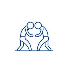 wrestling line icon concept wrestling flat vector image