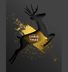 year card gold papercut reindeer vector image