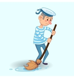 young sailor in uniform with mop and bucket vector image