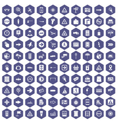 100 pointers icons hexagon purple vector image vector image