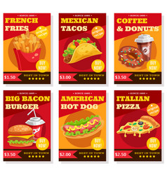 fast food posters set vector image vector image