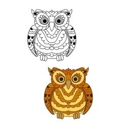 Forest brown owl with decorative feathers vector image vector image