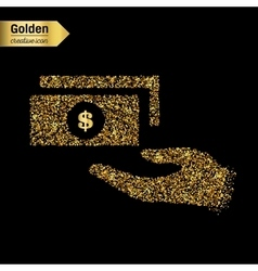 Gold glitter icon of isolated on background vector image vector image