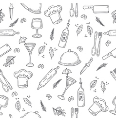 Hand drawn food seamless pattern Sketch kitchen vector image vector image