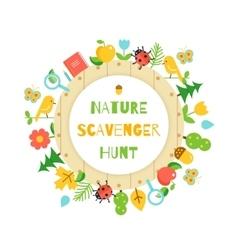 Nature Scavenger Hunt Kids Game Poster vector image