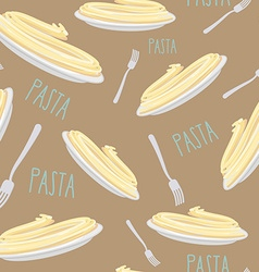 Pasta Seamless pattern Dish with noodles and fork vector image vector image