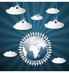 People Holding Hands Around Globe with Paper vector image vector image