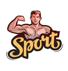 sport or gym bodybuilder bends arm vector image vector image