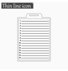 Clipboard with check list icon Style thin vector image