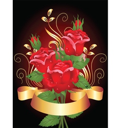 roses and ribbon vector image vector image