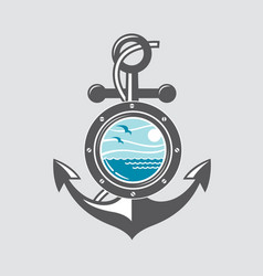 ship anchor and porthole vector image