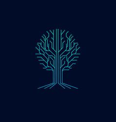 tree technology symbol logo vector image