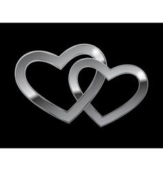 Two metal hearts vector