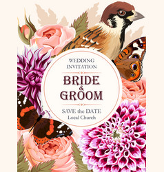 wedding invitation with beautiful flowers vector image