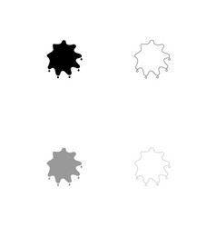 abstract ink blot black and grey set icon vector image