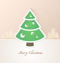 Christmas tree paper with snow background vector image