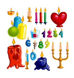colorful candle set candle flame and wax - vector image vector image