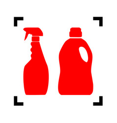 household chemical bottles sign red icon vector image