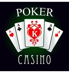 Poker game icon with four aces and king cards vector image