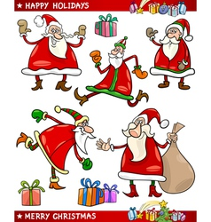 Santa and Christmas Themes Cartoon Set vector image
