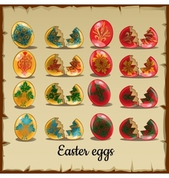 Set of solid and broken coloured Easter eggs vector image