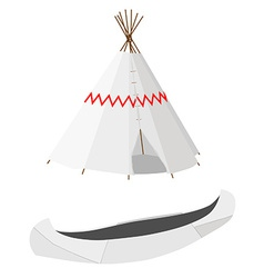 White canoe and wigwam vector image vector image