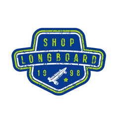 badge of longboard shop vector image vector image