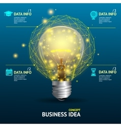 business idea concept illuminated lamp vector image vector image