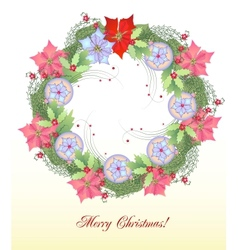 Christmas Wreath with Balls and Poinsettia vector image