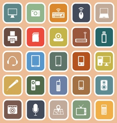 Gadget flat icons on orange background vector image vector image