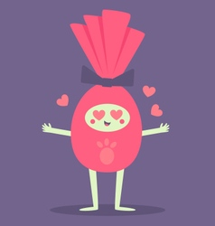 Happy chocolate easter egg crazy in love vector