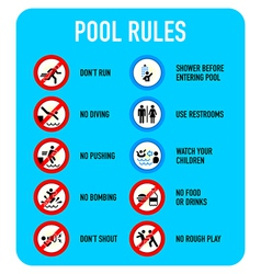 Pool rules signs vector image vector image