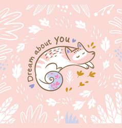 romantic card with white sleeping fox in cartoon vector image vector image