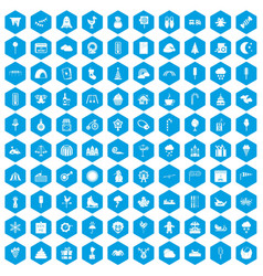 100 childrens parties icons set blue vector image vector image