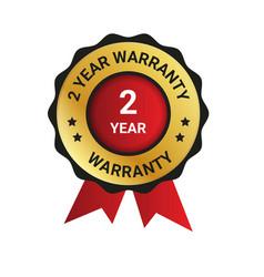 2 year warranty badge label extended warranty vector