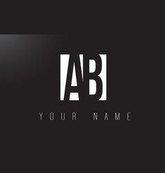 Ab letter logo with black and white negative vector