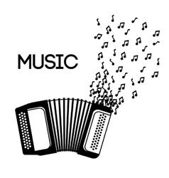 Accordion icon Music instrument graphic vector