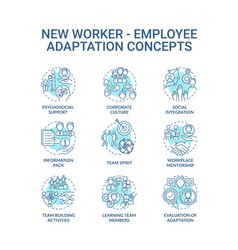 Adaptation new worker concept icons set vector