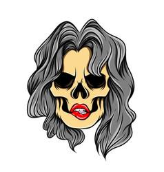 Art work gloomy girl skull vector
