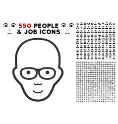 bald head icon with bonus vector image