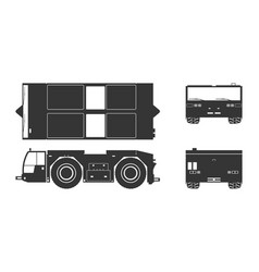 black silhouette of airplane towing vehicle vector image